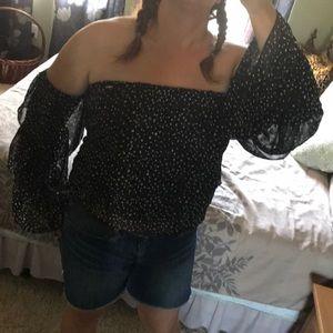 bebe Tops - 1hr SALE - Bebe off shoulder blouse, polka dots